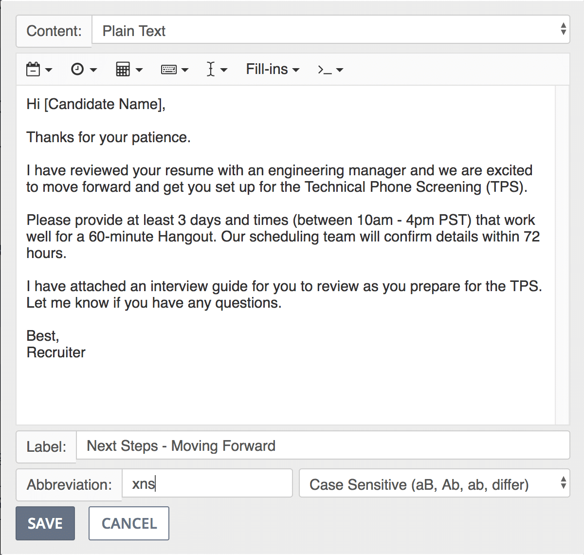Preview of snippet for next steps email