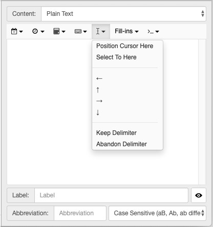 TextExpander cursor positioning option