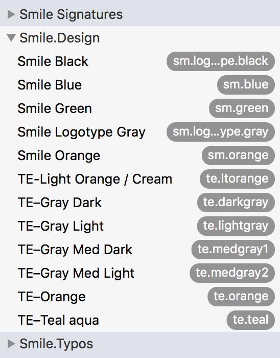 Screenshot Smile design snippets