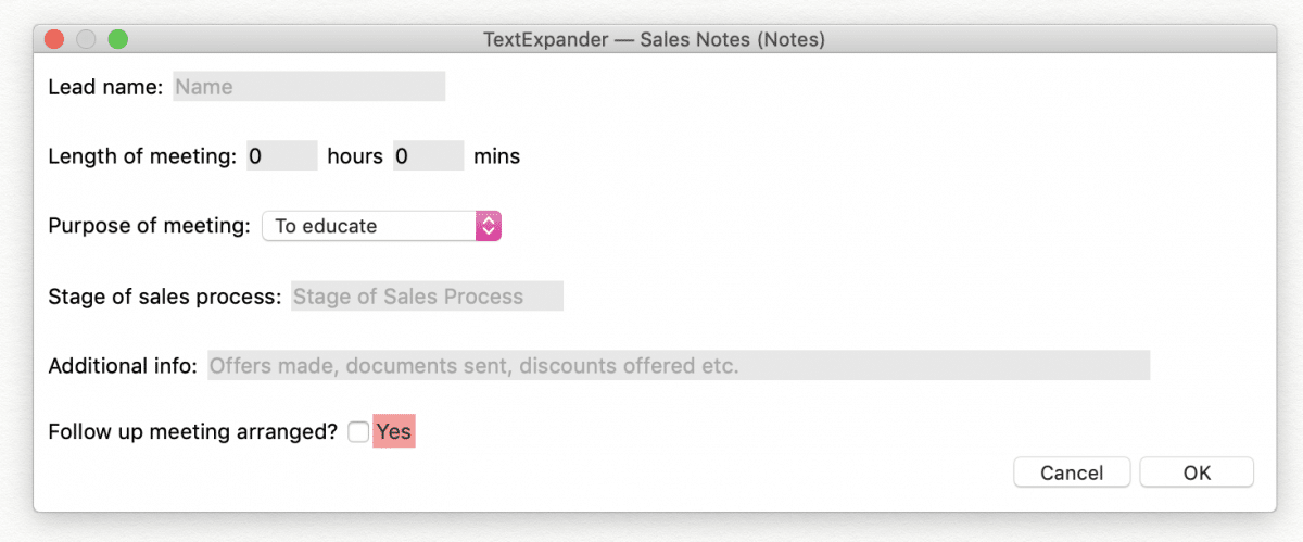 sales notes screenshot with lead name, length of meeting, purpose, sales stage and option to add additional info