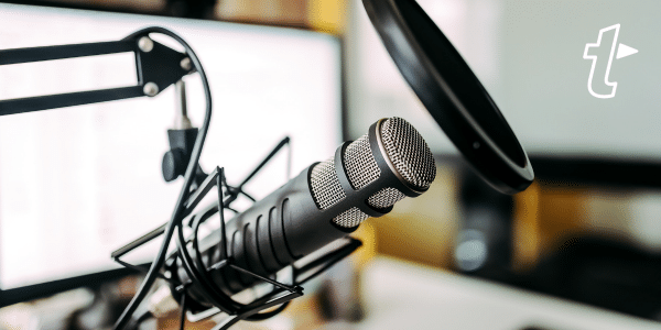 podcasting setup with microphone
