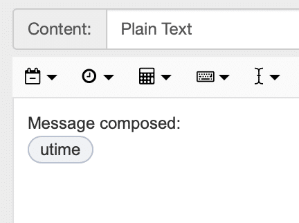 snippet showing 'Message composed: utime'