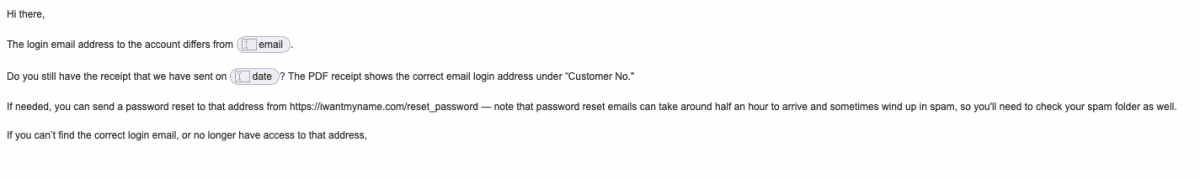 email helping customer with log-in detail