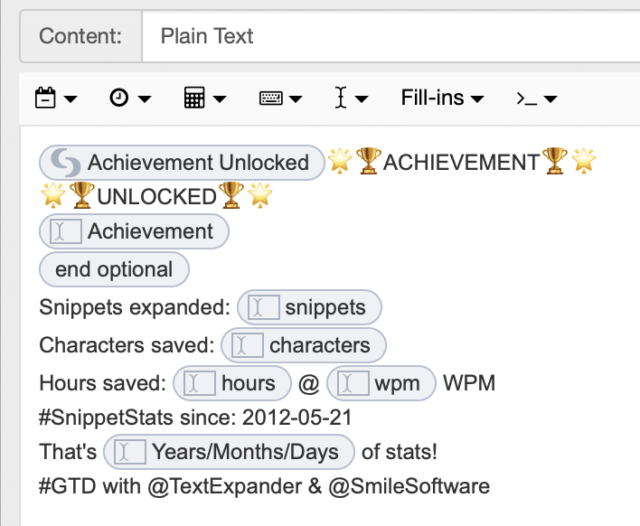 Blank snippet with fill-ins for snippets expanded, characters saved and hours saved.