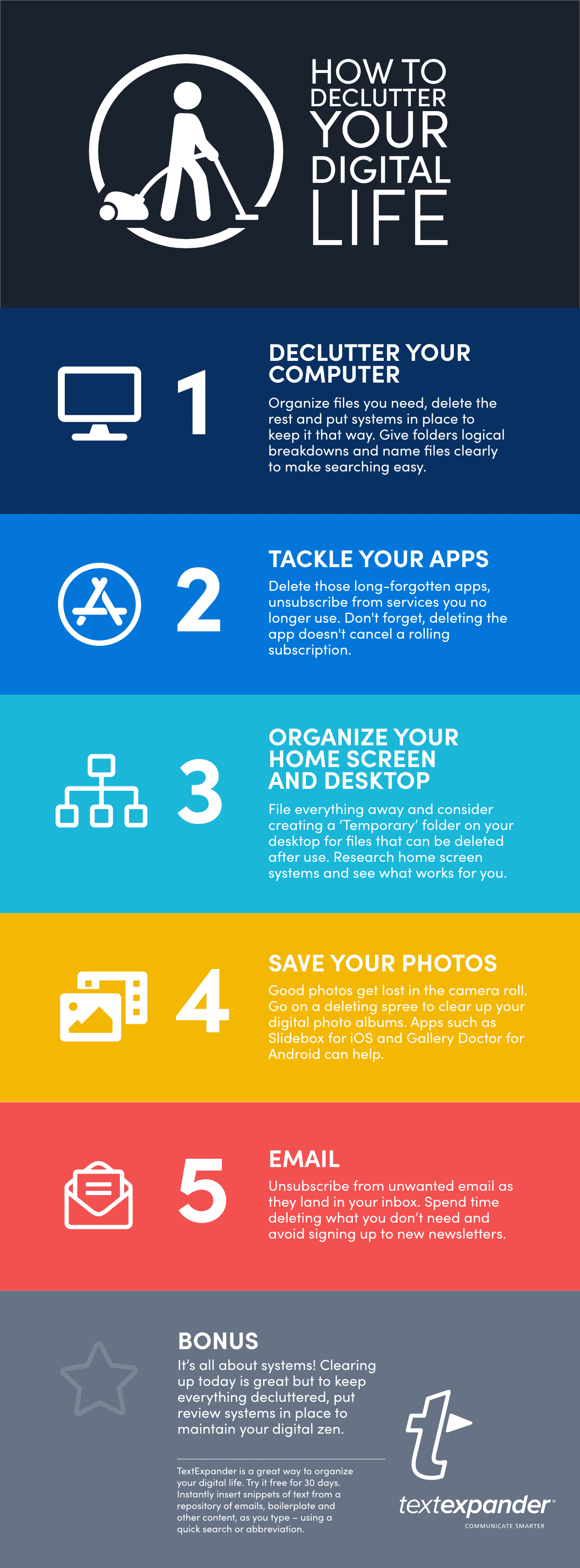 infographic showing 5 steps to decluttering: 1. declutter your computer 2. tackle your apps 3. organize your home screen and desktop 4. save your photos 5. email 6. bonus: create systems to stay organized