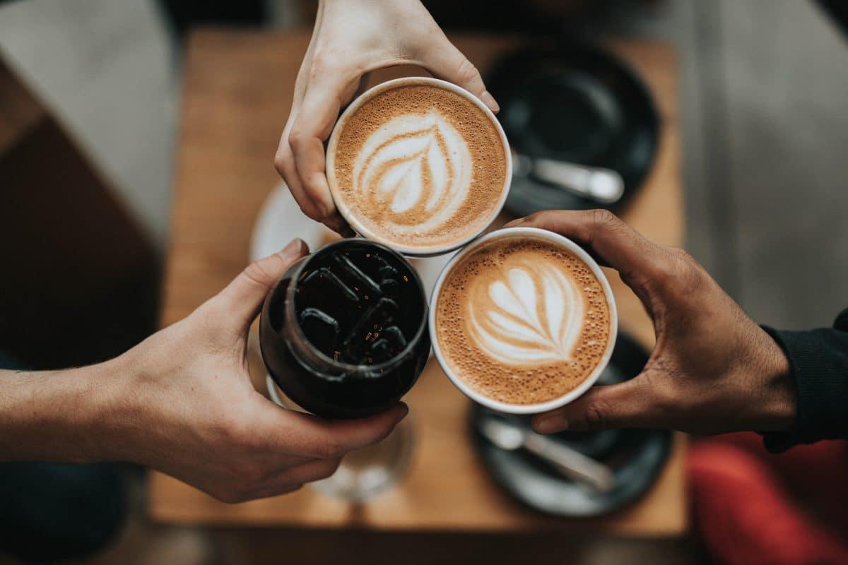 overhead shot of three cups of coffee