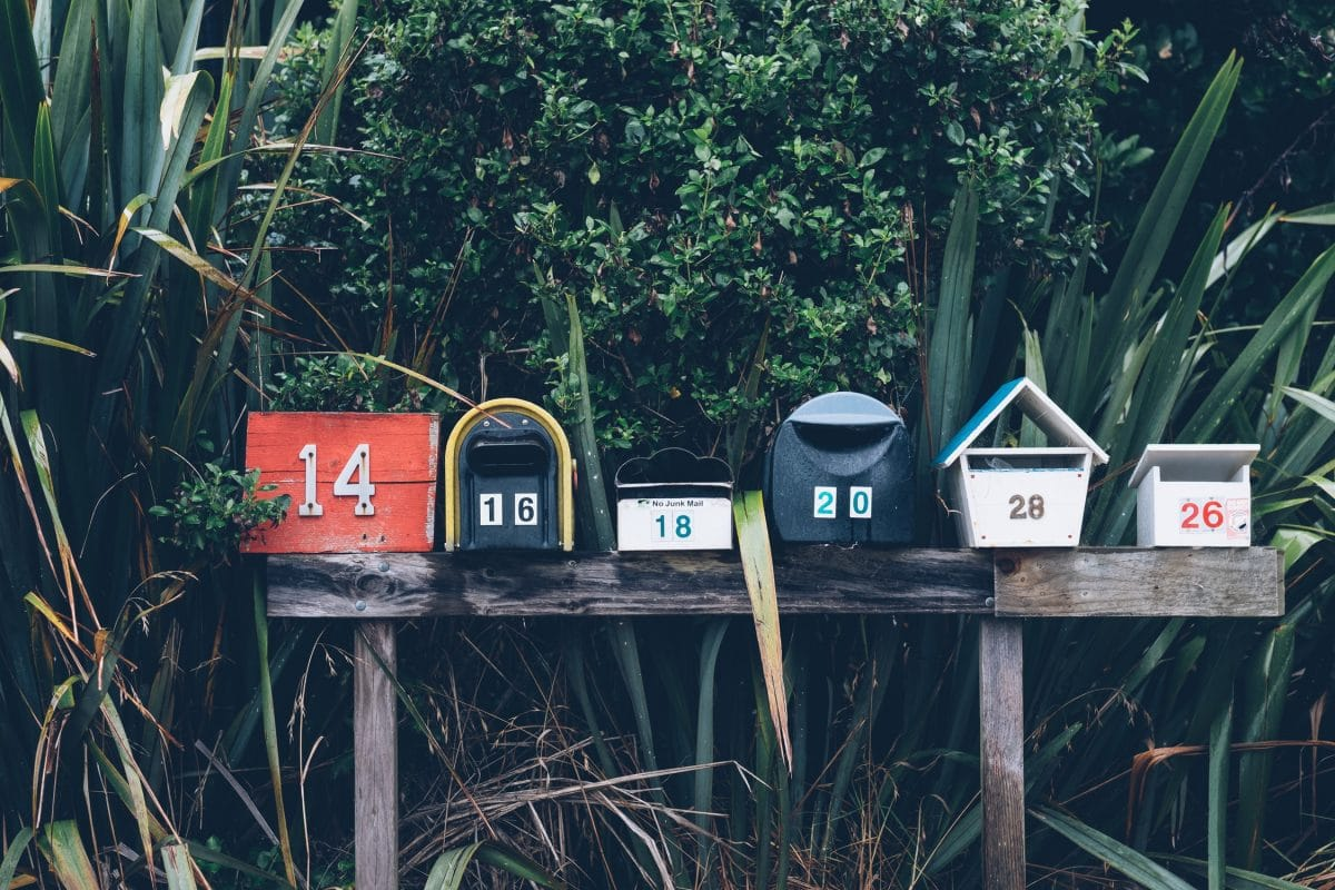 a line of different mailboxes