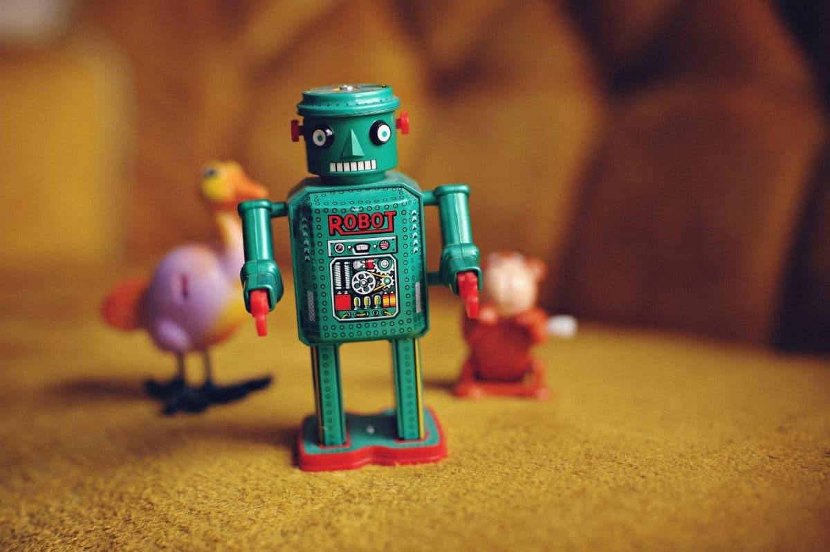 a cute blue robot toy