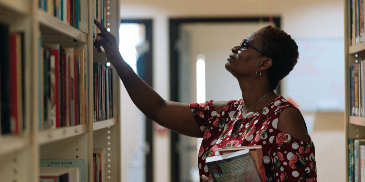 woman browsing books