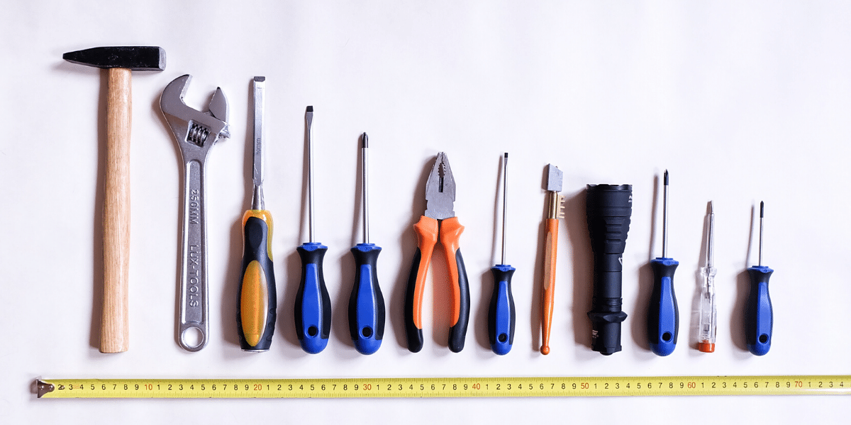 Tools of all sizes in a row