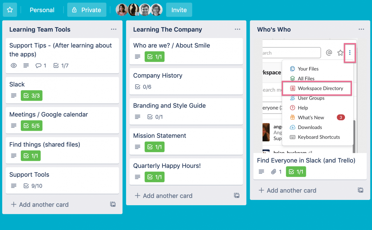 Trello's management software used to help the team in tasks.