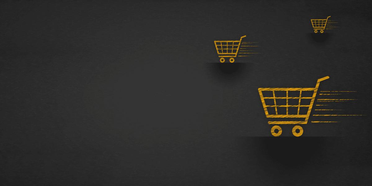Orange shopping carts on a black background