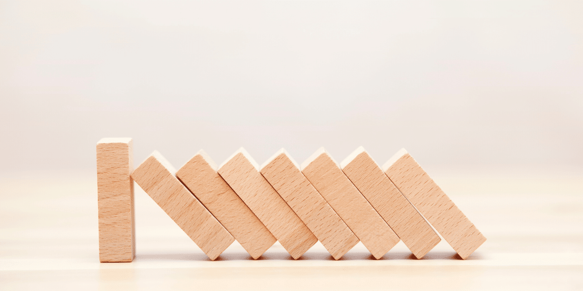 building blocks leaning against each other in a row