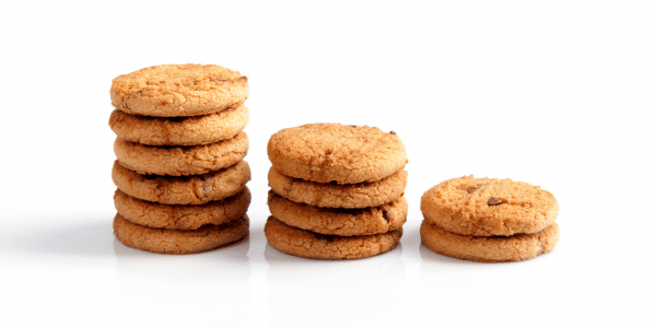 Stacks of cookies in a row