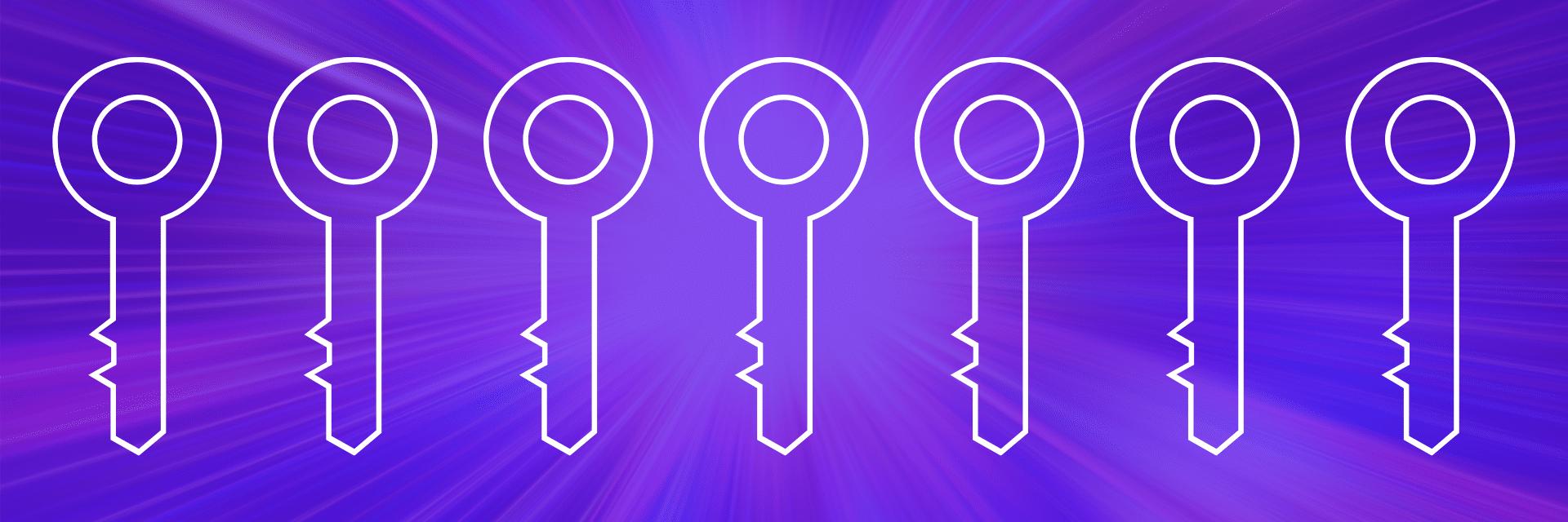 seven keys on purple background