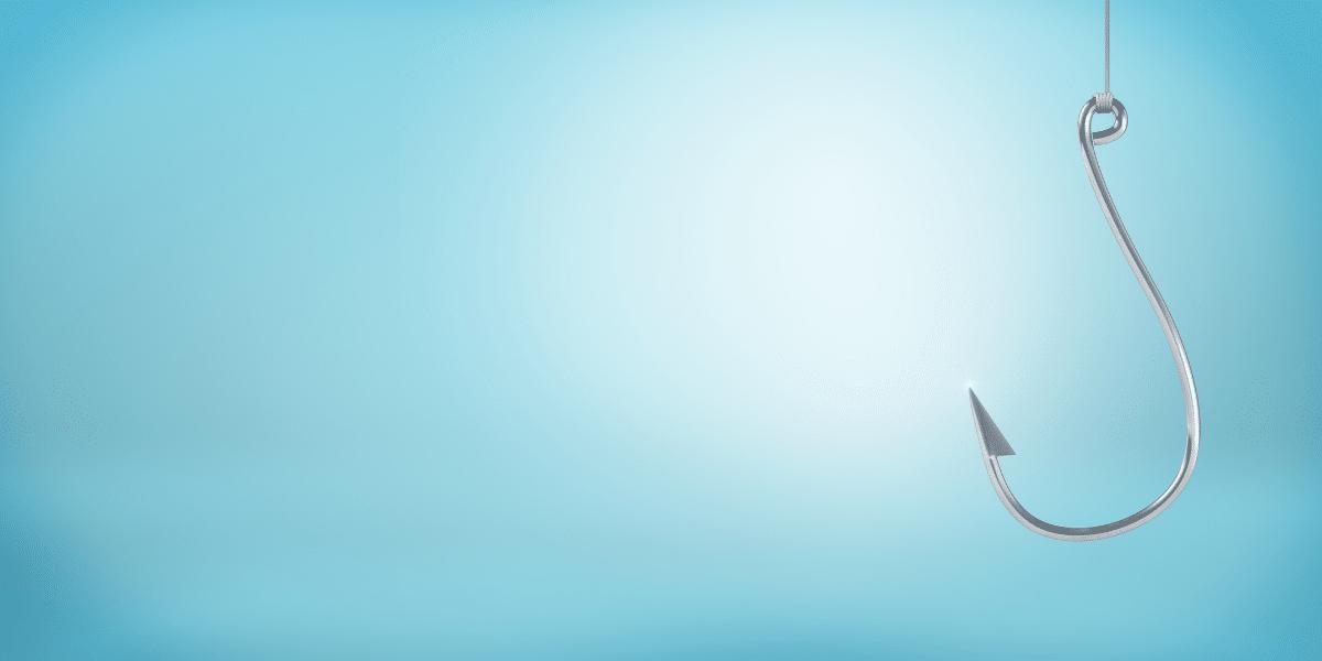 fishing hook on blue background