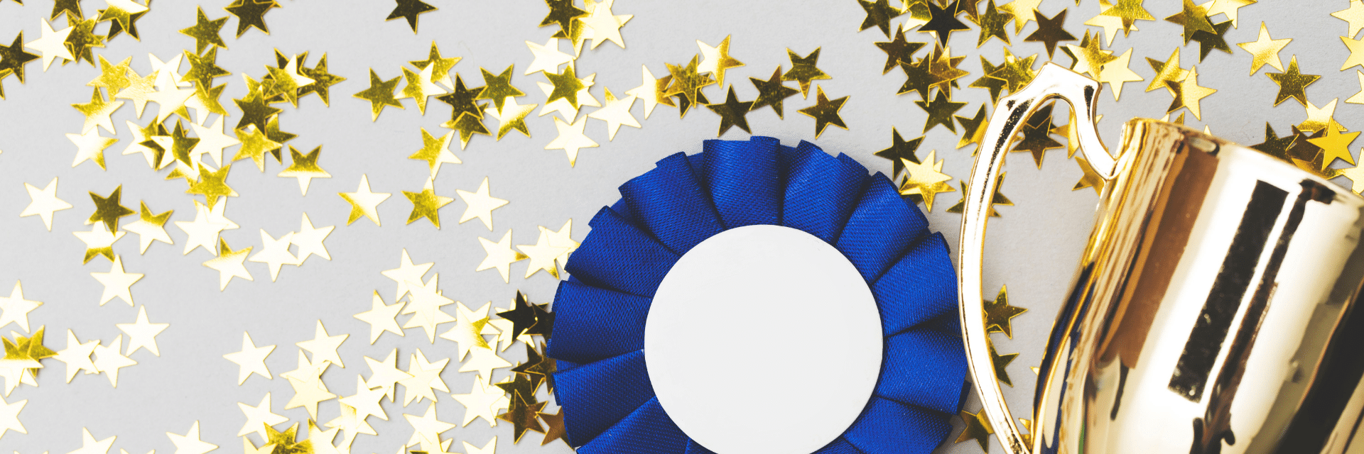 trophy and rosette with gold stars sprinkled around