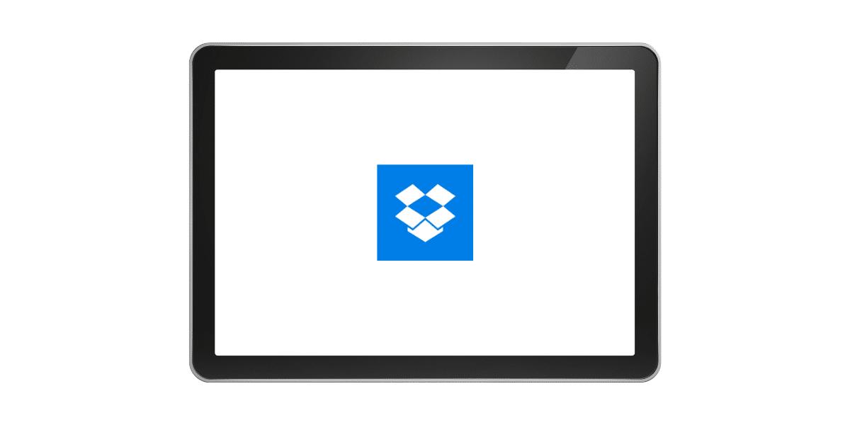 An iPad with the Dropbox logo