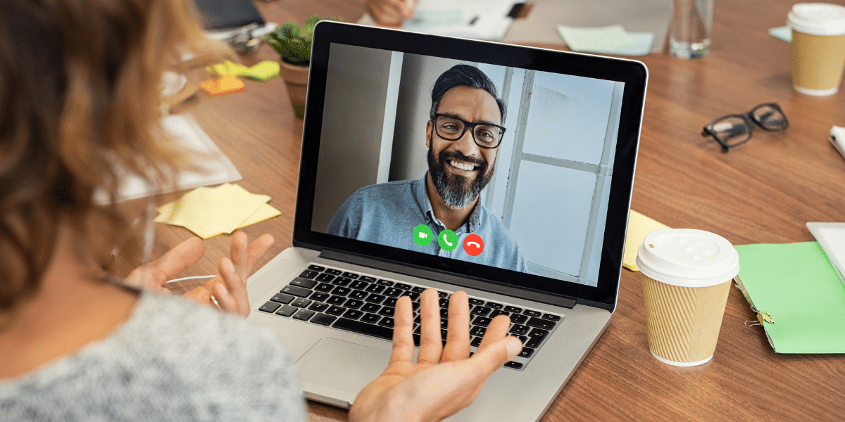 two people video calling