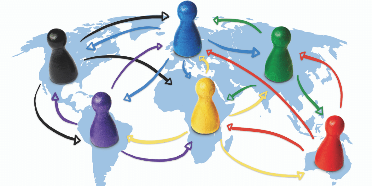 game pieces on a map connected by arrows