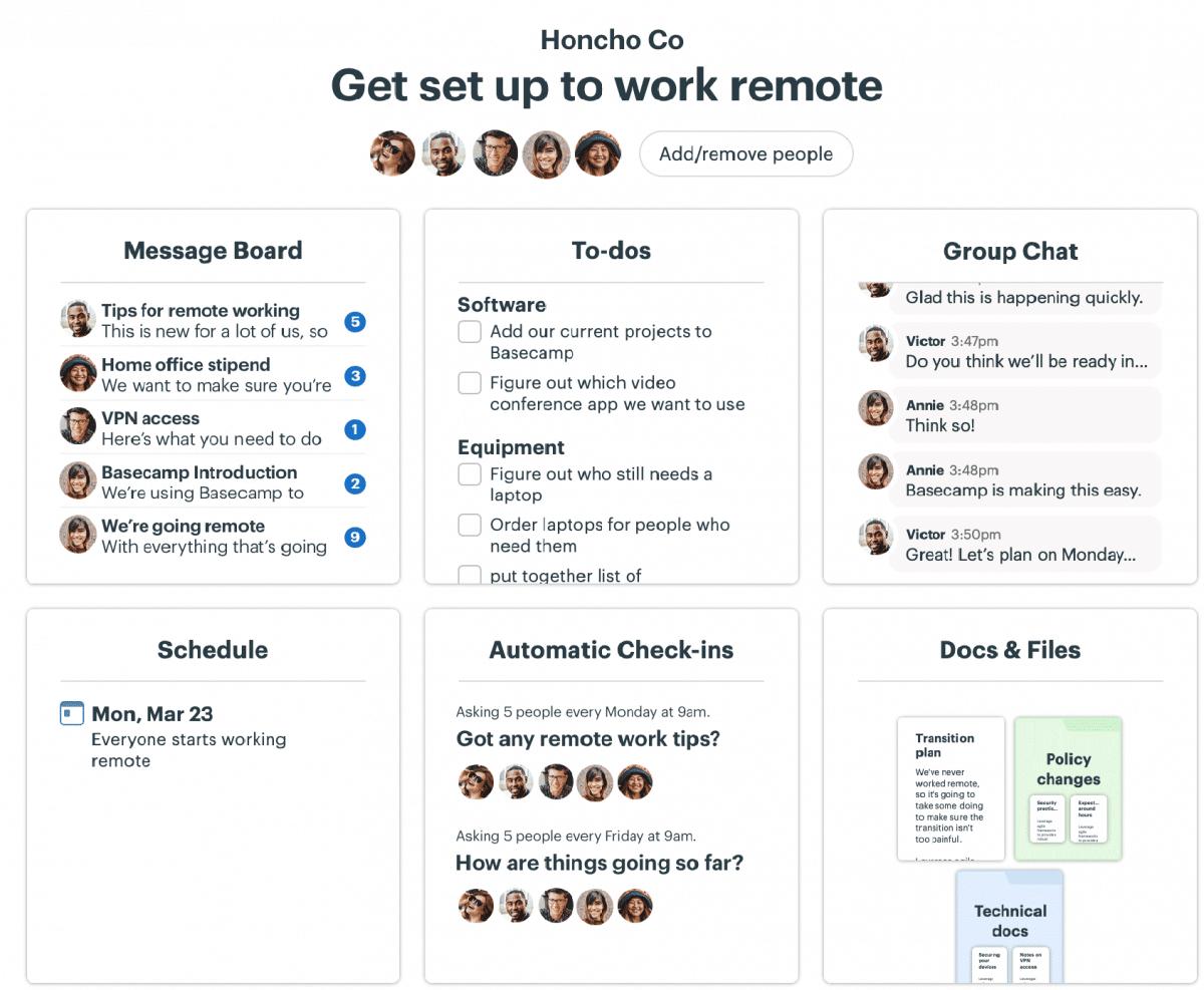 Remote work app Basecamp