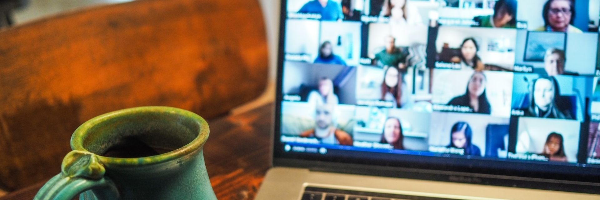 Remote workers at an online meeting