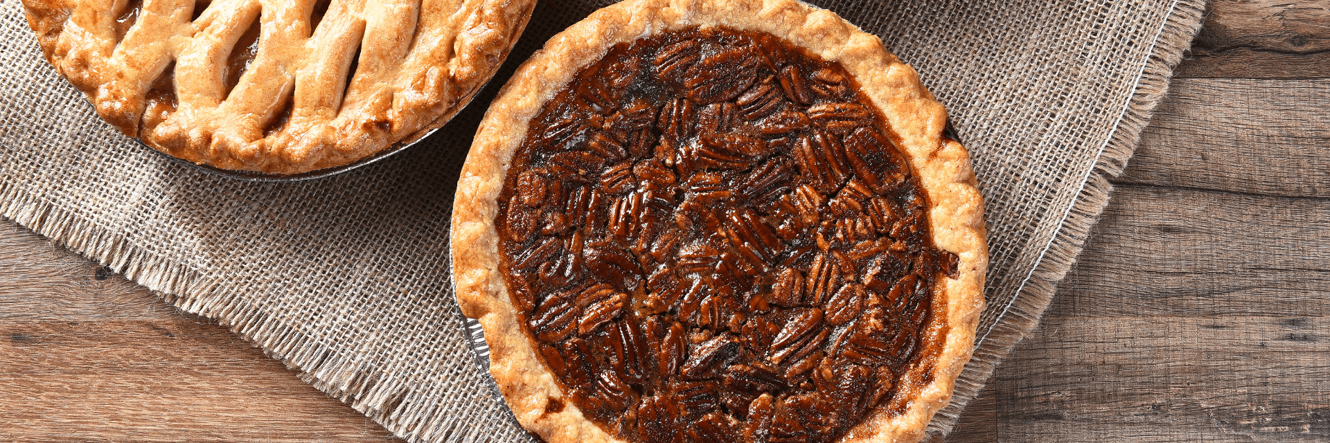 a selection of 3 thanksgiving pies