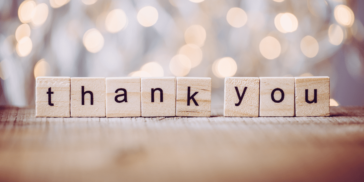 Wooden letters spelling out 'Thank You'