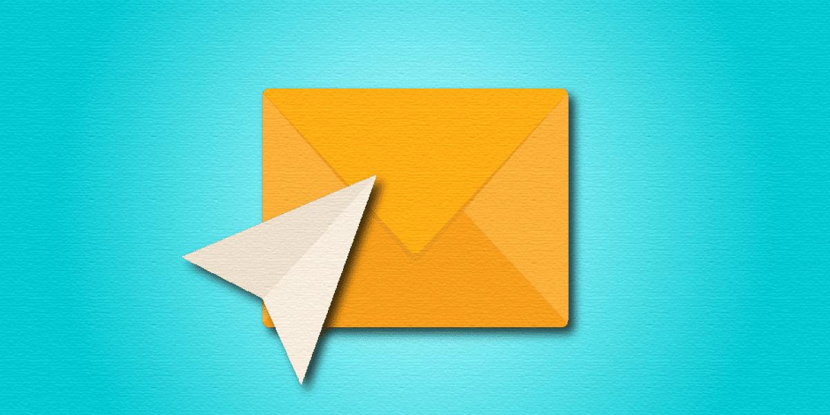 orange envelope on blue background