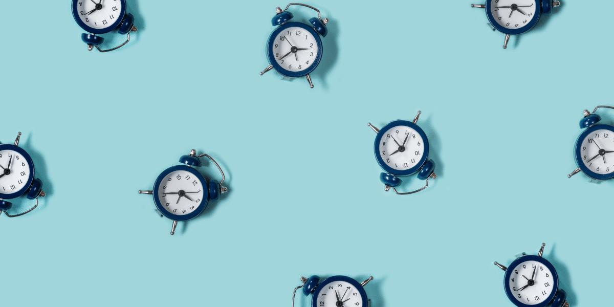 clocks on a blue background