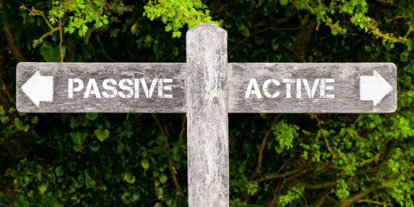 sign saying active and passive