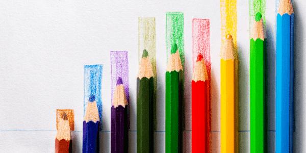colored pencils forming a bar graph
