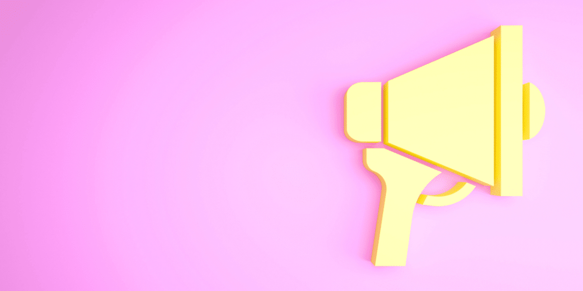 A yellow megaphone graphic on a bright pink background