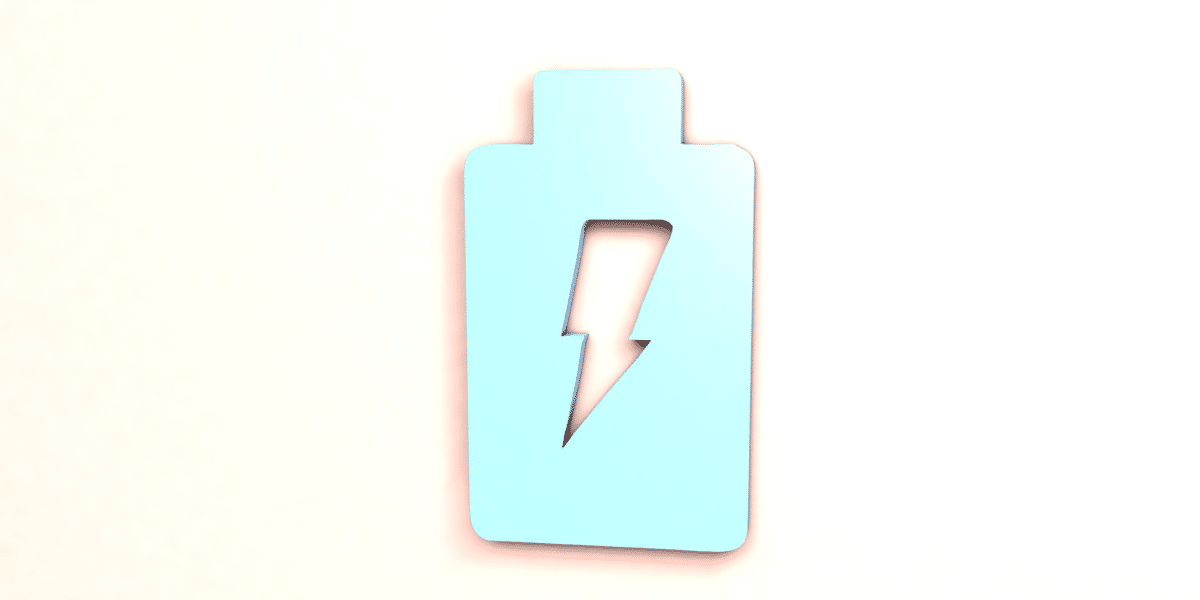 metal battery icon on pink background