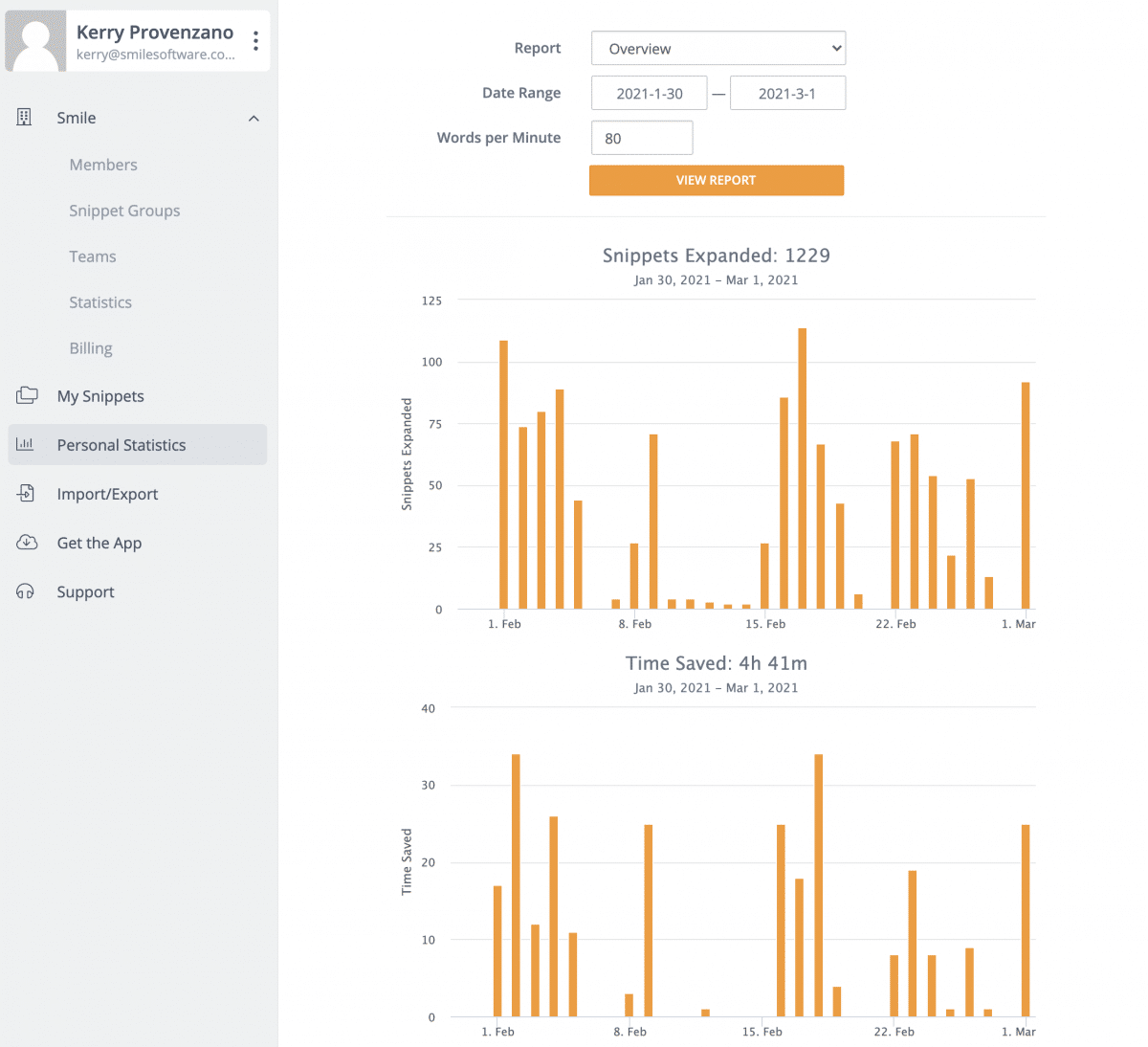 Showing personal statistics (time saved and snippets used)