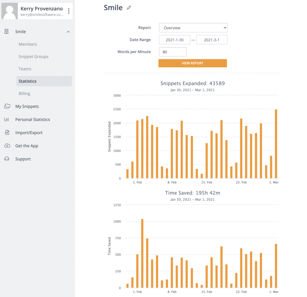 Showing team statistics (time saved and snippets used)