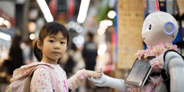 Little girl touches robot to represent recruitment technology balanced with a human touch