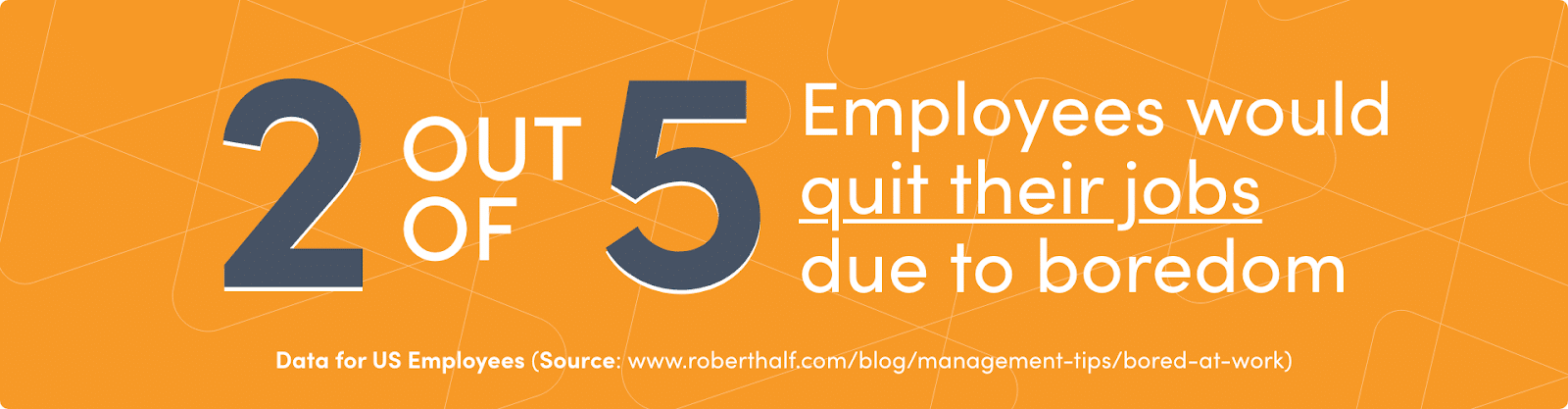 2 of 5 employees would quit their jobs due to boredom