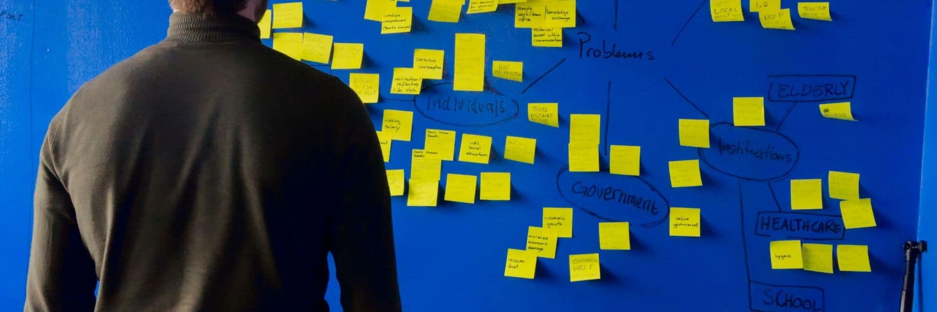 A board filled with post-it notes from a brainstorming session