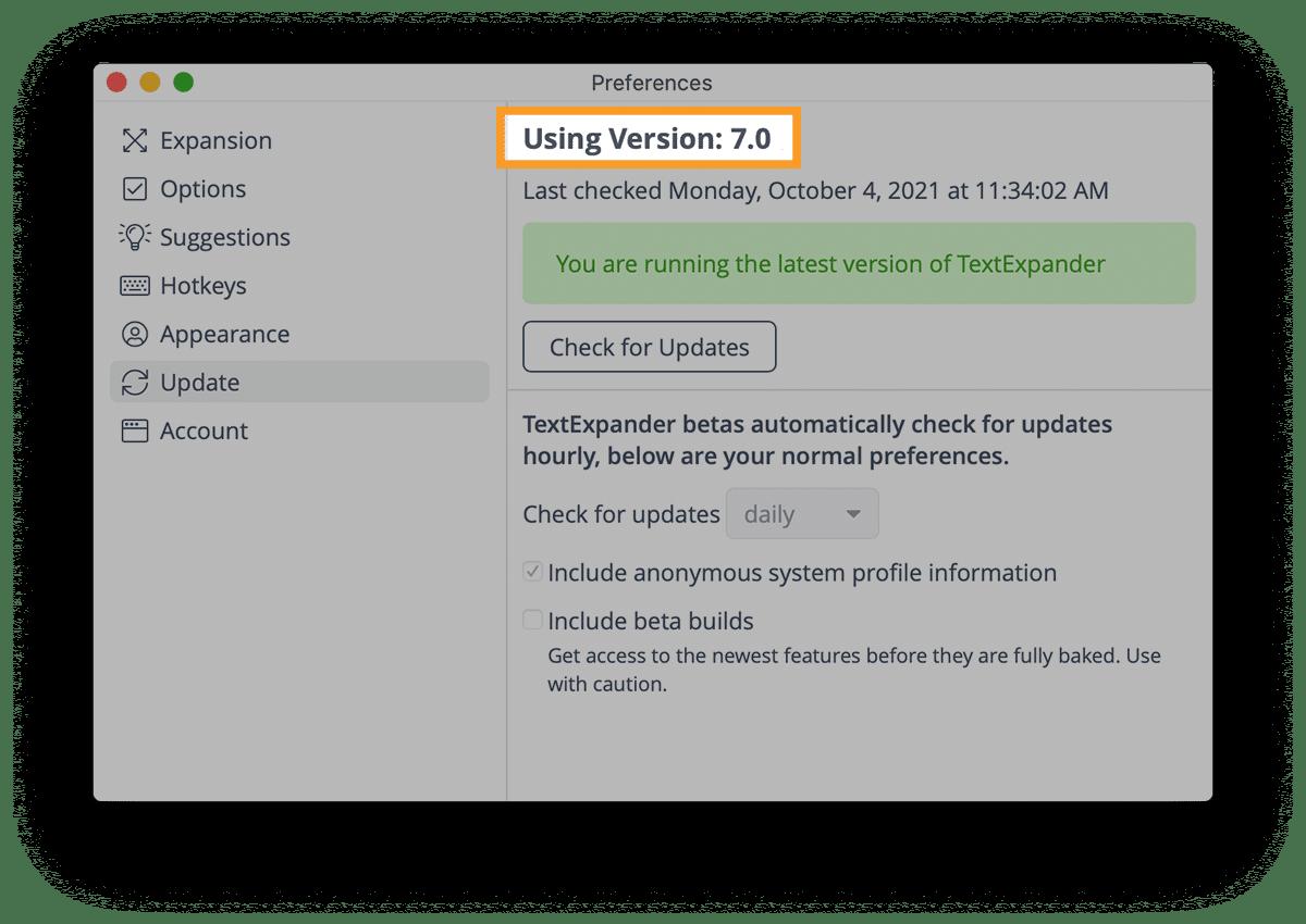 TextExpander Preferences Update window