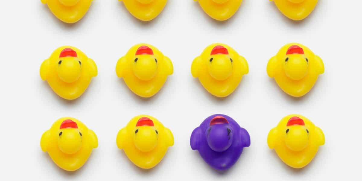 An image of 8 ducks all in a row, they're all yellow except for 1 purple one