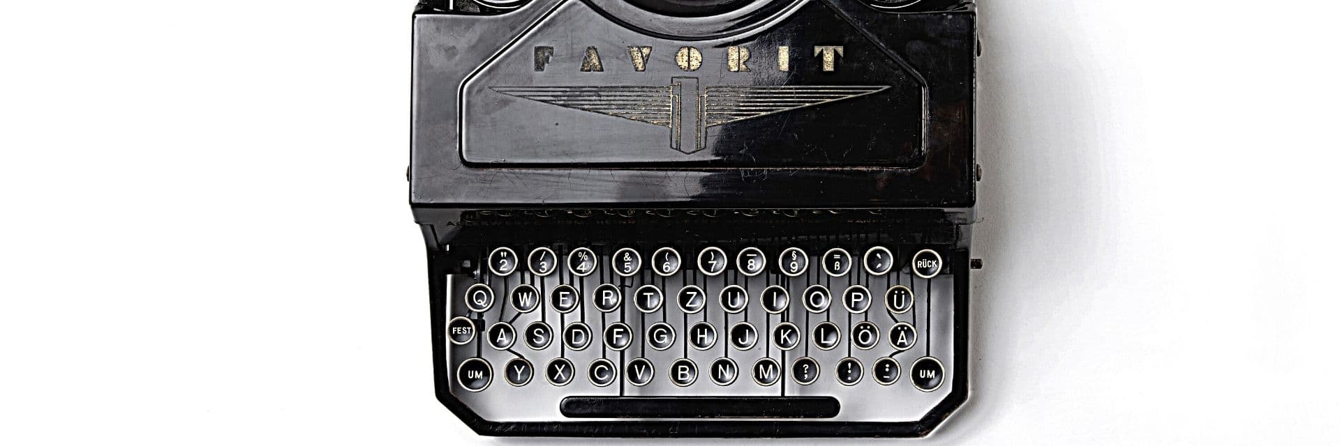 A birds-eye view of an old fashioned type writer
